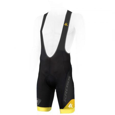 Kross Race Plus kerékpáros kantáros rövidnadrág sárga