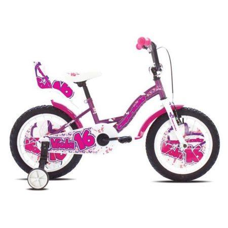 """Capriolo Viola 16"""" gyerek kerékpár Lila oldalkerék nélkül !"""