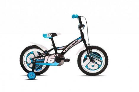 """Capriolo Mustang 16"""" gyerek kerékpár Fekete-Fehér-Kék"""