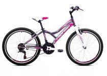 """Capriolo Diavolo 400 24"""" gyerek kerékpár Grafit-Rózsaszín"""