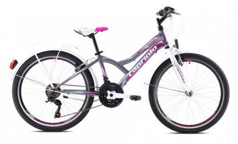 """Capriolo Diavolo 400 24"""" City gyerek kerékpár Grafit-Rózsaszín"""