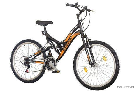 Biketek Eland 26 összteleszkópos MTB kerékpár fekete-narancs