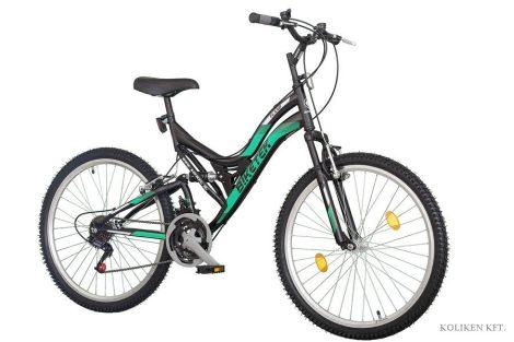 Biketek Eland 26 összteleszkópos MTB kerékpár fekete-zöld