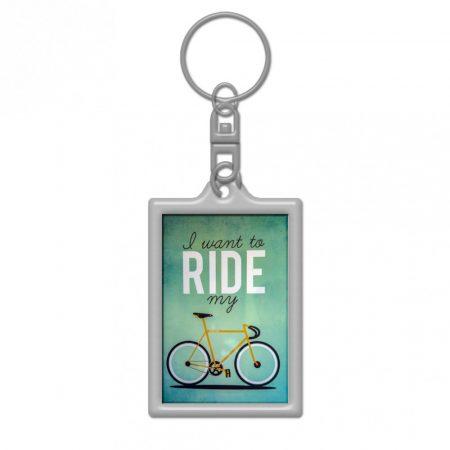 I want to ride my cycle green kulcstartó 25x36mm