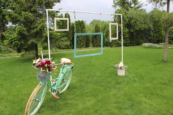 biciklis esküvői dekor